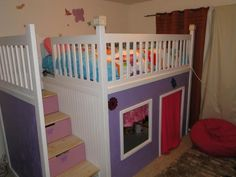 Do it yourself bunk beds... I love this site I found this on.  Tons of DIY projects.  This on here, I am going to take bits and pieces of to add to our own set of bunk beds!