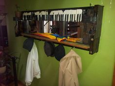 Coat Rack with Mirror from Repurposed Piano Keys and Parts via Etsy.  Wouldn't this look great in a cabin? Check out my emergency preparedness book at URL     http://www.amazon.com/How-Prepare-Disaster-Keeping-Family-ebook/dp/B00H40TPZU/ref=sr_1_1?s=digital-text&ie=UTF8&qid=1406400649&sr=1-1&keywords=Jeannie+Larson