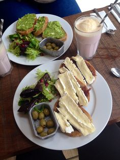 Brie and red onion chutney on toast and feta, mint and avocado on toast served with salad and olives at Toast House, Ilkley
