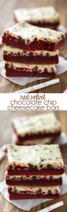 Red Velvet Chocolate Chip Cheesecake Bars - this recipe is amazing! A thick red velvet cake mix crust with a layer of chocolate chip cheesecake.