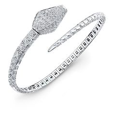 18KT White Gold Diamond Snake Cuff ($6,400) ❤ liked on Polyvore featuring jewelry, bracelets, jewelries, bracelets & bangles, snake bangle, white gold bangle, snake bracelet, diamond cuff bracelet und snake jewelry