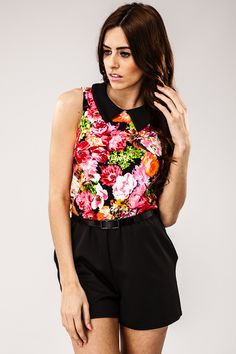 Heather Pink Floral Collar Playsuit at misspap.co.uk