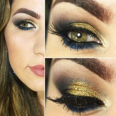 Maquiagem azul com dourado