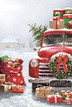 Christmas Scenery, Christmas Red Truck, Christmas Mood, Noel Christmas, Christmas Pictures, Vintage Christmas, Christmas Crafts, Christmas Decorations, Christmas Ornaments