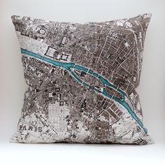DIY vintage PARIS map pillow KIT, 16x16 envelope style, made to order. $35.00, via Etsy.