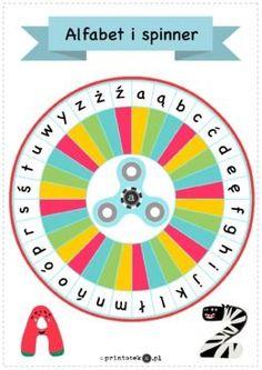 Spinner z alfabetem - wersja kolorowa - Printoteka.pl Math Board Games, English Games, Teaching Jobs, Family Games, Pre School, Alphabet, France, Projects To Try, Language
