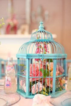 cage, roses, turquoise, robin's egg blue, blue, pink, delicate, feminine, arrangement, decor,