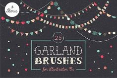 Check out Holidays Garland Brushes set + bonus by Marish on Creative Market Birthday Greetings, Birthday Cards, Illustrator Cs, Watercolor Cards, Tool Design, Flyer Design, Design Art, Brush Set, Clipart
