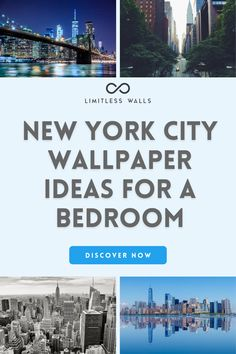 Limitless Walls has been creating wallpaper decor for years and currently offers a vast selection of wallpaper for bedrooms in a New York theme. Choose from a variety of sizes and materials, along with customizable options to meet your decor needs. Click to see our New York City wallpaper collection to decorate your bedroom. Architecture Wall Mural. Bedroom Wall Murals. Lanscape Wall Murals. | Limitless Walls - Premium Wall Murals New York Wallpaper, City Wallpaper, Wallpaper Decor, Landscape Wallpaper, Landscape Walls, Childrens Wall Murals, New York Theme, Skyline Image, Commercial Wallpaper