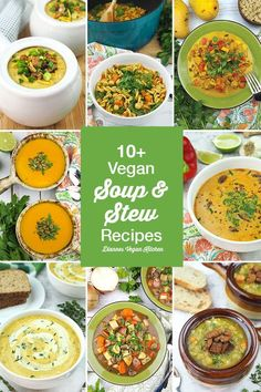 Soup season is here! These vegan soups and stews will keep you warm and cozy on chilly days. Here you'll find easy recipes for creamy soups, hearty stews, and even flavorful curry. Vegan soup for the win! Most of these recipes are gluten-free, too.