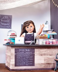 Welcome to Grace's bakery! She's been working day and night to bring her business this far and all of her hard work has paid off! American Girl Doll Room, My American Girl Doll, Doll Crafts, Diy Doll, Ag Dolls, Girl Dolls, Anerican Girl, Our Generation Dolls, Hard Work