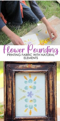 Flower pounding is a fun and easy way to create botanical prints on fabric. The flowers and leaves dye the fabric and leave a pretty, colorful imprint behind. What you design is up to you! #gardentherapy #flowerpounding #arts #crafts #diy #naturalart Garden Projects, Diy Projects, Botanical Prints, Your Design, Printing On Fabric, Therapy, Leaves, Colorful, Create