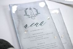Just My Type wedding invitation and stationery design NZ organic, natural, romantic, watercolour, ocean suite. Featuring torn edges, calligraphy, watercolour, wax seals, silk ribbon, illustration wreath, wedding logo motif, lighthouse illustration, silver leaf, silver foil x menu