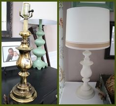 Goodwill brass lamp spray painted Heirloom white; white shade; ribbon glued around the bottom.