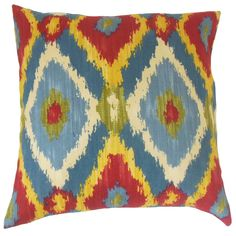 Laythan Ikat Pillow Multi - Make a striking accent to your living room or bedroom with this psychedelic toss pillow.