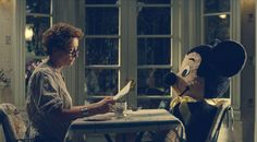 Saving Mr. Banks - This part is so cute!!! Emma Thomson as P.L. Travers and Mickey as Michey #CostumeDesign: Daniel Orlandi