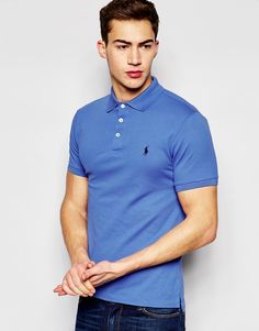 Polo+Ralph+Lauren+Polo+Shirt+In+Stretch+Slim+Fit+Blue