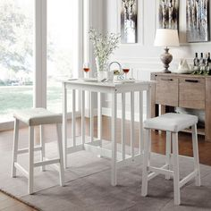 Kitchen Dining Set 3 Piece White Furniture Table Bistro Stool Chair Counter  #Tribecca #Modern
