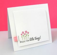 Simple stamp flower stem punch flower enjoy the little things white over white card