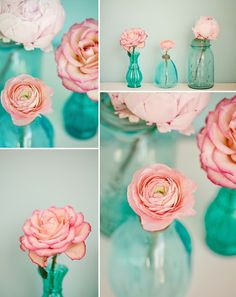 Love these little blue jars that are used for bud vases!