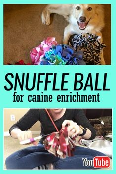 How to Make a Snuff Ball for Dog Enrichment # Dogs - Diy Sewing Projects Dog Enrichment, Dog Crafts, Diy Projects Dog, Dog Items, Dog Agility, Dog Training Tips, Training Videos, Diy Stuffed Animals, Stuffed Toy