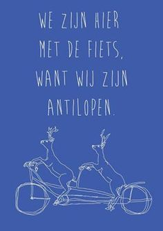 We zijn hier met de fiets, ...