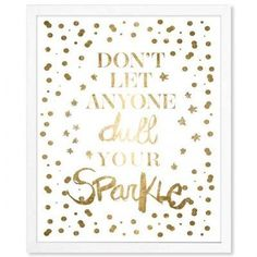 Mercer41 Always Shine Confetti Gold Foil Metallic Framed Textual Art