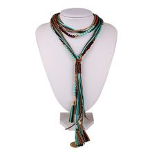 2016 Bohemian Necklace Boho Long Necklace Multi Layer Tassel Necklace Women Kolye Leather Necklace Vintage Jewelry Ethnic(China (Mainland))