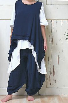 OH MY GAUZE Cotton Lagenlook ROCCO 2-Layer VEST Tunic OSFM M/L/XL/1X BLACK