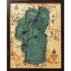 Large Lake Tahoe 3D Wood Map Baby White Nursery Pinterest Lake