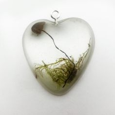 Heart Shaped Tiny Mushroom & Moss Necklace  Real by PinkysPendants