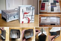 Do you have a lot of newspapers kept in one corner of your house? If so, check out these cool DIY old newspaper craft ideas for the creative genius in you. Diy Newspaper Bags, Old Newspaper, How To Make A Gift Bag, How To Make A Paper Bag, Diy Arts And Crafts, Diy Craft Projects, Diy Crafts, Craft Ideas, Hand Crafts