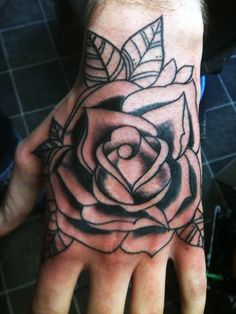 Simple Grey Rose Tattoo On Hand For Men