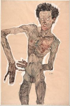 Self-Portrait Grimacing Artist: Egon Schiele. Self-Portrait Grimacing (1910)