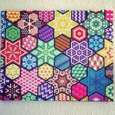 Colorful hama perler wall art by Sofie Damgaard Vindum Perler Bead Templates, Pearler Bead Patterns, Diy Perler Beads, Perler Patterns, Pearler Beads, Fuse Beads, Beaded Cross Stitch, Cross Stitch Patterns, Pixel Art