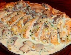 Куриная грудка запеченная с грибами и соусом