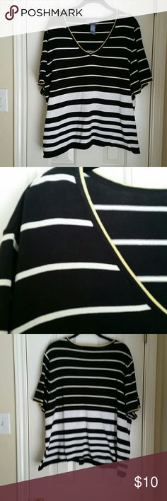 Blue, White, & Yellow striped short-sleeved top A medium-weight knit top, almost a light sweater.  Dark navy blue and white stripes with yellow highlights. Worn once, just wasn't as in love with it on as on the hanger! Excellent condition,  100% Cotton. Koret Tops