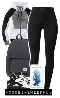 """10:4:15"" by codeineweeknds ❤ liked on Polyvore featuring H&M, Herschel Supply Co., J Brand and NIKE"
