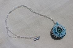 Sweet blue raindrop crochet pendant by FuchsiaFoxStudio on Etsy