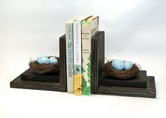 Bird Nest Bookends Wood Wooden Book Ends by EclecticForest on Etsy