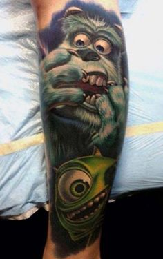 Sully and Mike looking petrified, as usual. #inked #Ink #tattoo #monsters #inc #mike #sully #monster #realism #movie #pixar