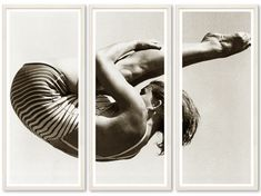 TROWBRIDGE - triptych photograph of U. diver Patricia McCormick doing a springboard high dive at the 1952 Helsinki Olympics Diving Springboard, Triptych Wall Art, Photocollage, Objet D'art, Decoration, Photo Wall Art, Art Photography, Illustration Art, Abstract