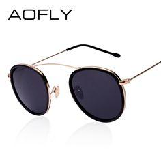 AOFLY Vintage Round Sunglasses Reflective Coating Glasses Fashion Women Brand Designer Sunglasses Metal Frame Oculos de sol