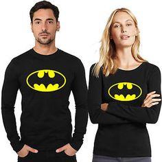 Pack of 2 - Batman Full Sleeves T-shirts for Couples Online Deal Today, Couple Tshirts, Full Sleeves, Graphic Sweatshirt, T Shirt, Latest Trends, Batman, Couples, Sweatshirts