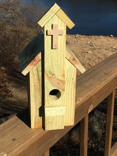 Rustic church birdhouse by CabinhouseWoodArt on Etsy