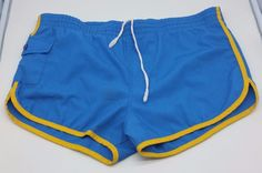 Weeds Vintage 80s Blue Yellow Trim Swim Sport Trunks Shorts W Liner Medium 32 34 | Clothing, Shoes & Accessories, Vintage, Men's Vintage Clothing | eBay!