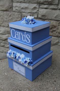 Wedding Card Box Card Holder 3 Tier Square Blue and by aSignofJoy