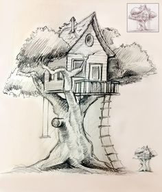 Up house drawing in coloured pencils, Easy Pencil Drawings, Pencil Sketch Drawing, Cool Art Drawings, Art Drawings Sketches, Drawing Drawing, Paper Drawing, Pencil Sketches Landscape, Landscape Drawings, Pencil Sketches Of Nature