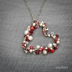 Pearls and Red Crystals Wire Wrapped Heart Sterling Silver Necklace