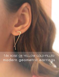 14k Rose or Yellow Gold Filled Bar Earrings - Geometric Ear Climbers - Modern Goldfill Triangle Earrings - Gold Threader Earrings - Her Gift